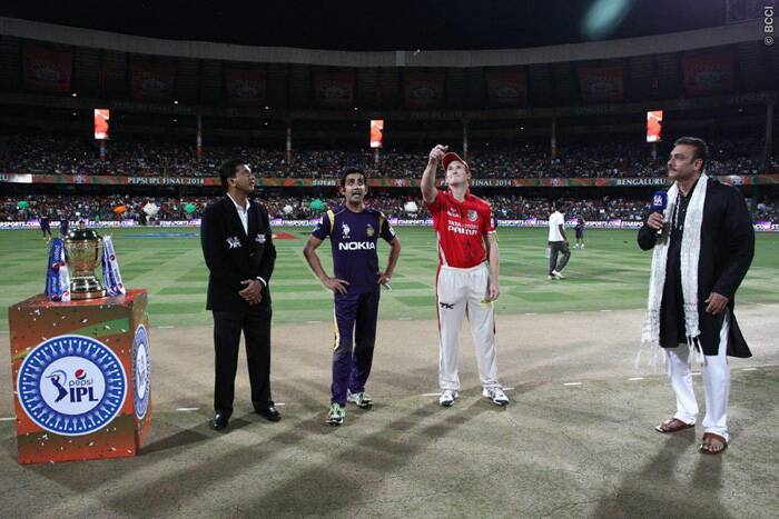 KKR skipper Gautam Gambhir won the all important toss and invited the George Bailey-led KXIP to bat first. (Source: BCCI/IPL)