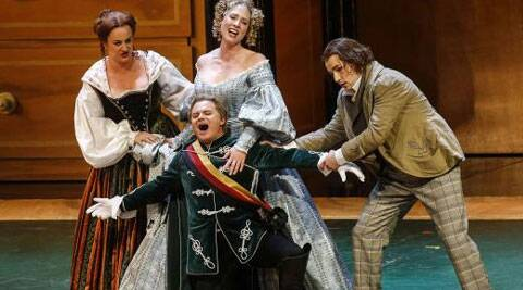 Singers (L-R) Monika Bohinec as Magdalena, Anna Gabler as Eva, Roberto Sacca as Walther von Stolzing and Peter Sonn as David perform on stage during a dress rehearsal of Richard Wagner's opera 'Die Meistersinger von Nuernberg' in Salzburg in this July 29, 2013 Source: Reuters