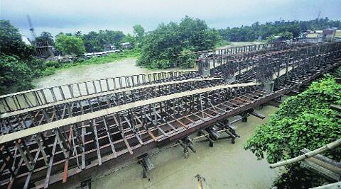 A view of the collapsed wooden bridge over the Howrah river in Agartala on Sunday. (PTI)