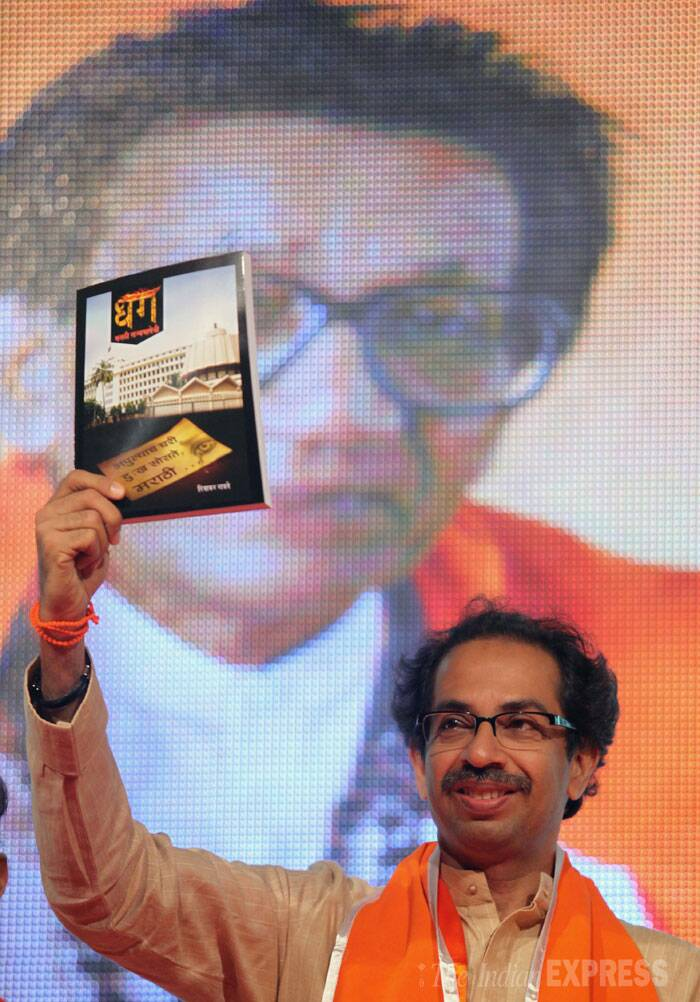 """This is not the time to declare the name of the chief ministerial candidate. I can understand your hurry, but I have no need to hurry. I have not thought of becoming or not becoming the chief minister,"" Uddhav Thackeray said after a state-level party meeting to celebrate the outfit's 48th anniversary. (Source: Express photo by Prashant Nadkar)"