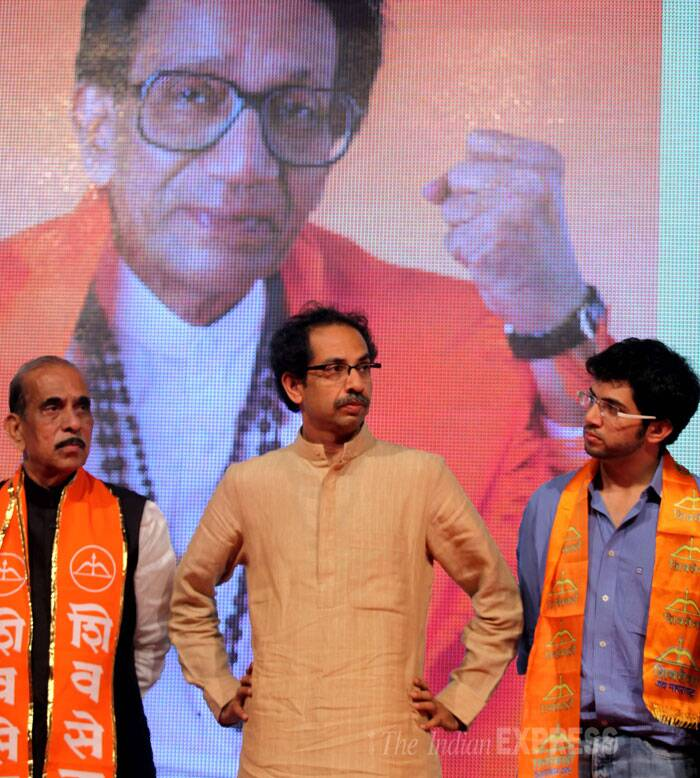"When pointed out that Sena spokesperson Sanjay Raut had voiced the demand for his chief ministerial candidature, Uddhav said, ""Raut is a Shiv Sainik.. I respect the sentiments of Shiv Sainiks.""(Source: Express photo by Prashant Nadkar)"