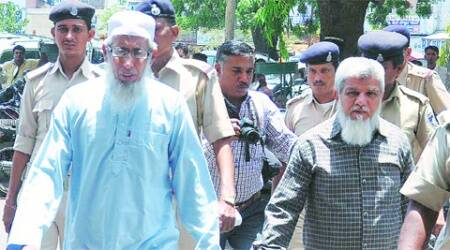 Shaukatullah Ghori (left) and Majid Patel in Ahmedabad on Friday. (Express Photo: Javed Raja)