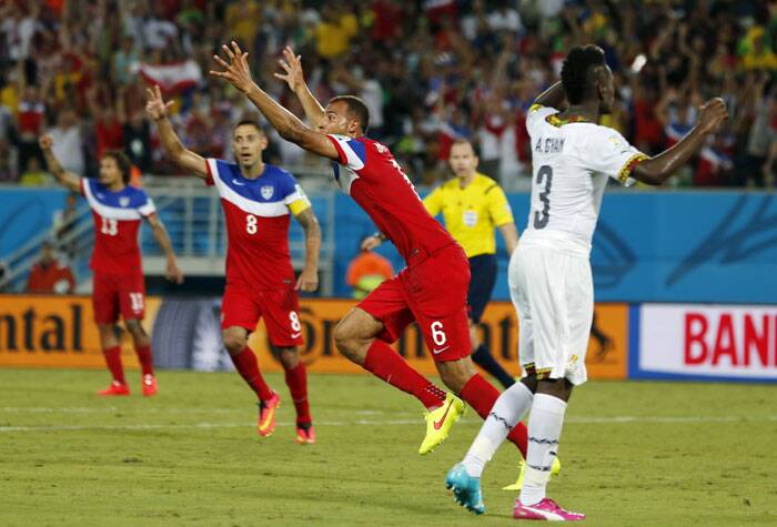 Breaking the jinx: USA's John Brooks Jr. can hardly believe what he's done. He came off the bench to score the winner against Ghana. (Source: AP)