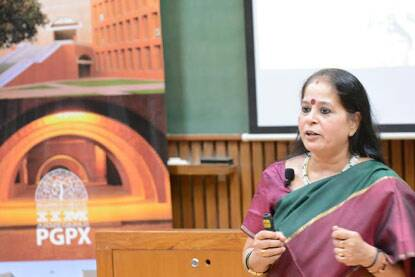 Usha Ananthasubramanian, MD Bharatiya Mahila Bank speaks at PGPX Speaker Series held at IIMA on Wednesday