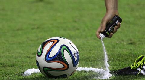 9.15 the vanishing foam like spray that will be used to mark the free kick spots and the free kick wall distance. (Source: AP)