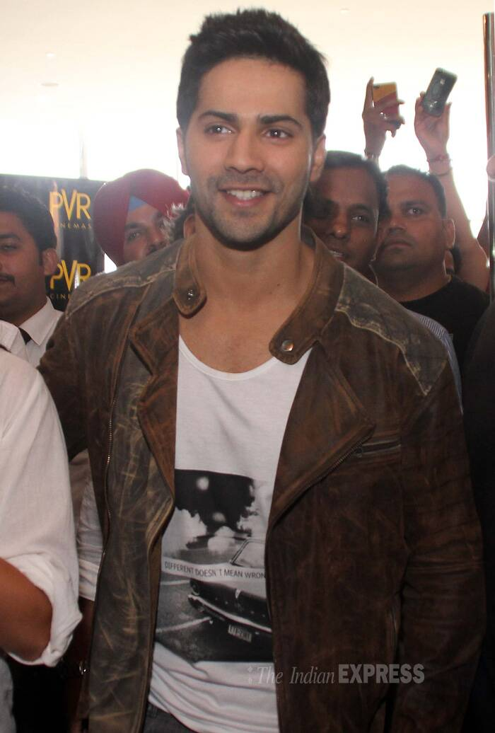 Varun, who will be next seen in 'Humpty Sharma Ki Dulhania' with Alia Bhatt, was seen in t-shirt and brown jacket. (Source: Express Photo by Gurmeet Singh)
