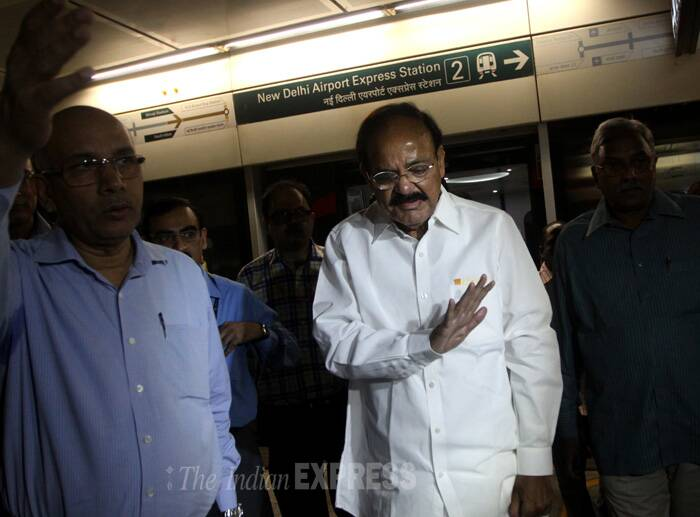 Naidu interacted with commuters en route and took their suggestions about travel fare, transport facilities on stations and also increasing frequency of trains. (Source: Express photo by Prem Nath Pandey)