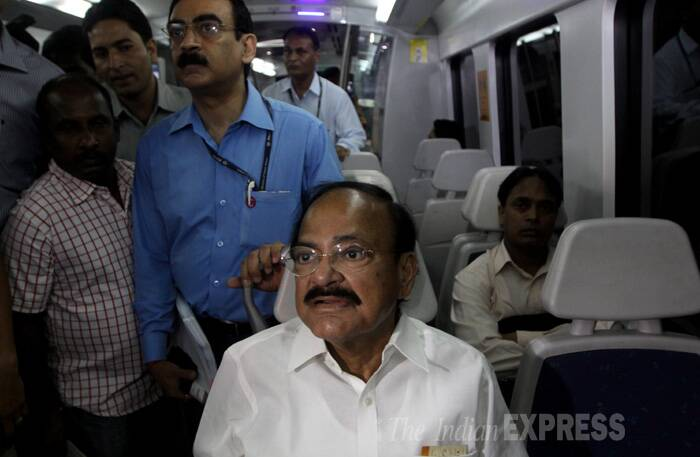 """I feel this is the best mode of transport for people who want to reach early and comfortably. This (Delhi) metro or metros across the country are symbols of modern India. Our people have got capacity and calibre if we give them proper encouragement and opportunity they can do wonders,"" Naidu said after taking a 15 minute ride on the Airport Metro from Terminal 3 of International Airport to Shivaji Park station. (Source: Express photo by Prem Nath Pandey)"