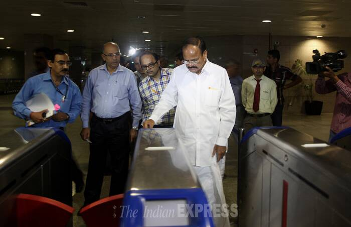 The minister said giving space for ATMs, food courts, advertisements can help DMRC generate revenue and other by popularising the facilities people will start using it more frequently. (Source: Express photo by Prem Nath Pandey)