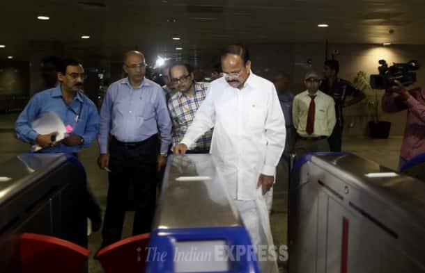 Venkaiah Naidu takes a metro ride