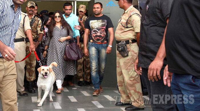 Vidya, who has been promoting her soon-to-release detective film in Vadodara, was all smiles as she made an exit surrounded by tight security. (Source: Express Photo by Bhupendra Rana)