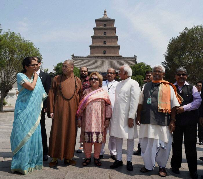 Vice President Hamid Ansari with his wife Salma Ansari and his delegation during a visit to the Wild Goose Pagoda in Xian on Friday. (Source: PTI)