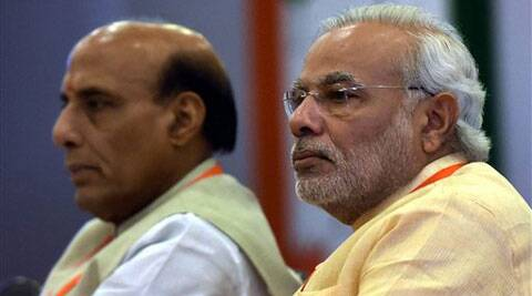 Prime Minister Narendra Modi with Home Minister Rajnath Singh at the newly elected BJP MPs workshop at Surajkund in Faridabad on Saturday. (Source: PTI)