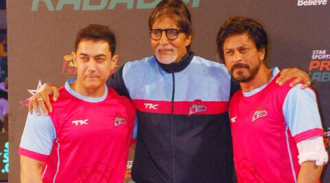 Superstars Aamir Khan and Shah Rukh Khan were seen on the same platform to support Indian sport kabaddi. (Source: Varinder Chawla)