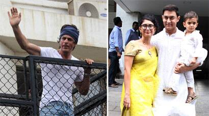 PHOTOS: Aamir, Kiran celebrate Eid with Azad and Shah Rukh with fans