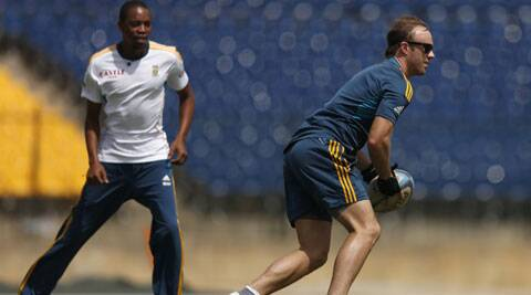 AB de Villiers plays rugby during a training session ahead of the first Test (Source: Reuters)