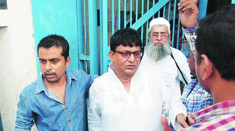 Mustaq Patel and Yusuf Nalbadh come out of the jail on Sunday. (Express)