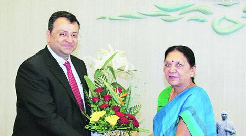 Tata Group chairman Cyrus Mistry with CM Anandi Patel in Gandhinagar on Tuesday. (PTI )