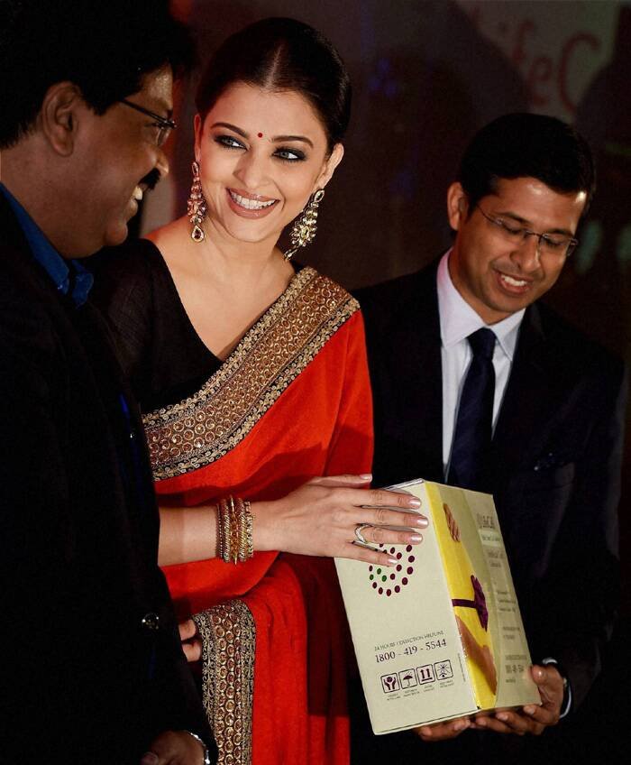 Aishwarya Rai was in Chennai to celebrate the milestone achievement of LifeCell's preserving of 1,00,000 umbilical cord stem cell units. (Source: PTI)
