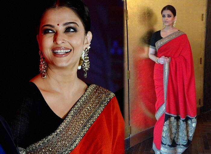 Bollywood actress Aishwarya Rai Bachchan looked stunning in a red Sabhysachi sari with a heavy black border at the stem cell banking event in Chennai on Sunday (July 27). (Source: Facebook)