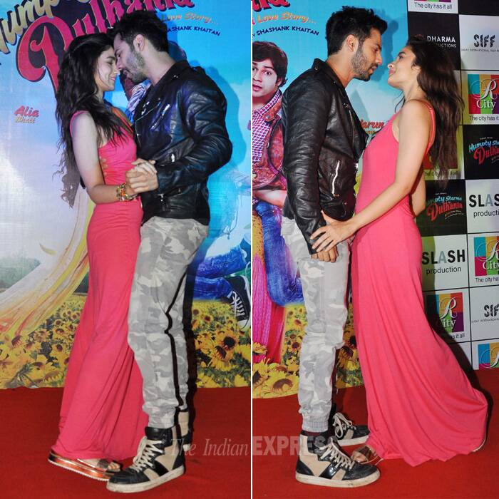 Romancing co-stars seems to be the new promotional gimmick as actors Varun Dhawan and Alia Bhatt got cozy for the promotions of their upcoming rom-com 'Humpty Sharma Ki Dulhaniya' on Saturday (July 5) in Mumbai.<br /><br />Looks like Varun is head-over-heels in love with his 'dulhaniya' Alia. (Source: Varinder Chawla)