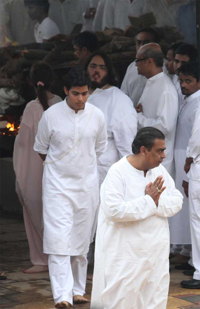 The Ambani family  together at the funeral. (Source: Express photo by Vasant Prabhu)