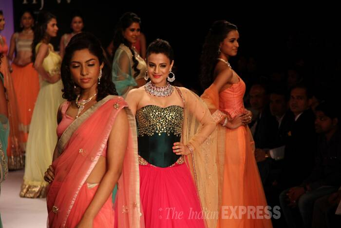 Bollywood actress Ameesha Patel also walked the ramp on the first day for jewellery brand Surya Gold. (Source: Varinder Chawla)