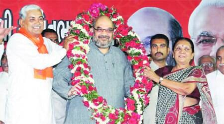 Amit Shah with CM Anandi Patel and other party leaders at Ahmedabad airport on Friday.