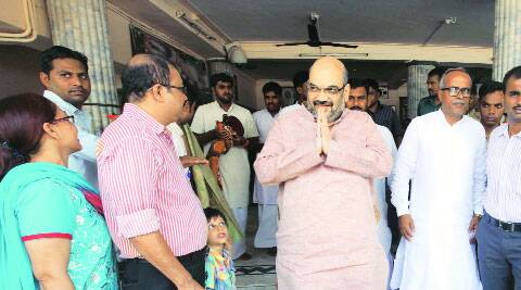 Amit Shah in Ahmedabad on Sunday.