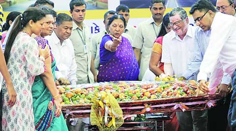 Chief Minister Anandi Patel at an event in Vadodara on Saturday. Bhupendra Rana