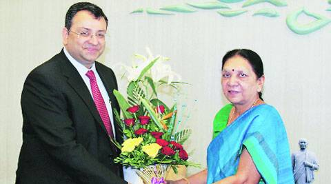 Tata Group chairman Cyrus Mistry with CM Anandi Patel in Gandhinagar on Tuesday. (Source: PTI)