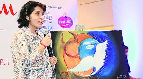 IT entrepreneur Ruzan Khambatta at the art auction in Ahmedabad on Sunday. Express