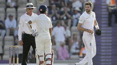 Ajinkya Rahane is seen complaining to the umpire after his run-in with James Anderson (Source: AP)