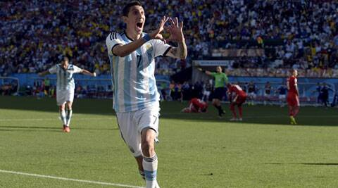 Di Maria sent a left-foot shot past diving goalkeeper Diego Benaglio. (Source: AP)
