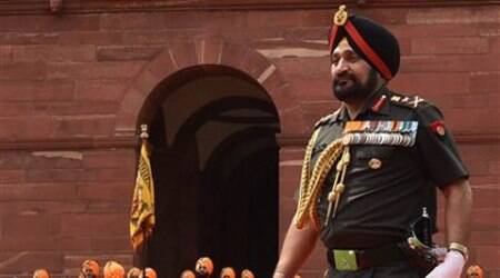 Outgoing Army Chief General Bikram Singh after inspecting a guard of honour at South Block in New Delhi on Thursday. (Source: PTI)