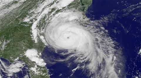 Satellite image taken at 3:45 p.m. EDT and released by the National Oceanic and Atmospheric Administration (NOAA), shows Hurricane Arthur near the coasts of South Carolina and North Carolina. (Source: AP)