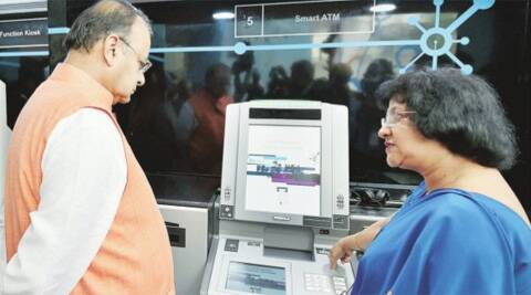 FM Arun Jaitley with SBI chairperson Arundhati Bhattacharya at the launch of sbiNTOUCH in New Delhi on Tuesday.