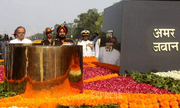 "He said the construction of the memorial ""will take some time because we want it to be a grand war memorial and war museum"". (Source: Express Photo by Prem Nath Pandey)"