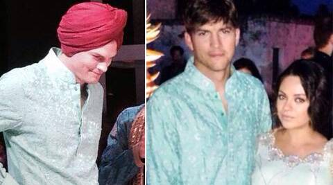 Ashton Kutcher and Mila Kunis were dressed in traditional Indian attire at a friend's wedding.