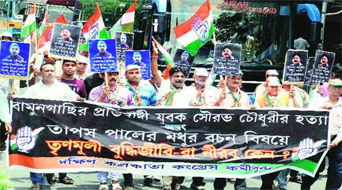 Congress workers during a rally against state government over Sourav's death and Tapas Pal's rape threat in Kolkata on Sunday. (Source: PTI)