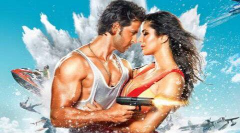 The poster shows Katrina Kaif and Hrithik Roshan wrapped around each other.