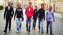 Hrithik Roshan with the team of Bang Bang in Prague