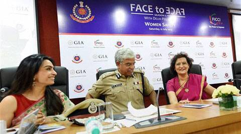 "Delhi Police Commissioner BS Bassi with FLO President Neeta Boochra and others during a seminar on ""The Power to Empower"" in New Delhi on Saturday. (Source: PTI)"