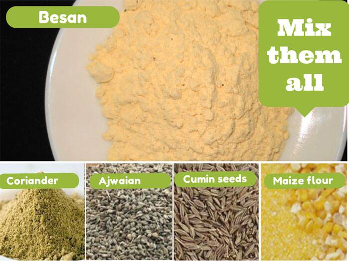 Mix besan, maize flour, coriander powder, cumin seeds, ajwain seeds in a bowl.