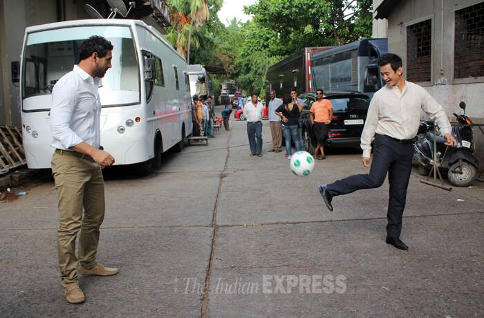 In another part on the town, actor John Abraham was spotted having some friendly football fun with Bhaichung Bhutia. (Source: Varinder Chawla)
