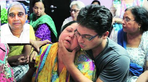 Bhatia's wife and son. Rajender Bhatia, who died after he was assaulted (Inset).
