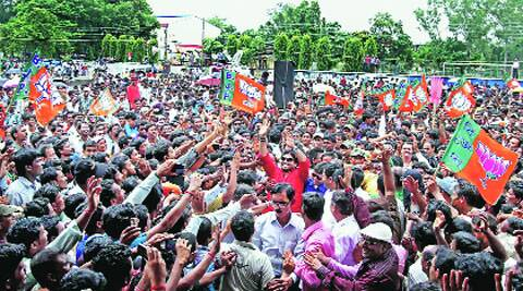 BJP MP Babul Supriyo (in red) at the Birbhum rally  on Wednesday. PTI