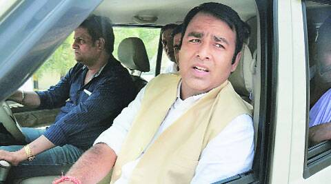 BJP LA Sangeet Som on his way to a mahapanchayat which was planned in Kanth on Friday. Police stopped the BJP workers from holding the meeting.  (Source: PTI)