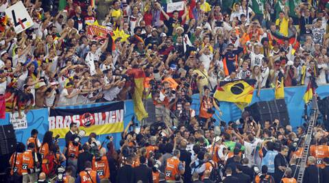 Hordes of Brazil supporters were seen rooting for Germany at the World Cup final. (Source: AP)