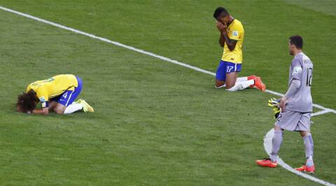 Brazil players react after the humiliating result - their worst defeat (Source: Reuters)